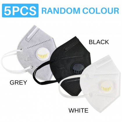 1 / 3 / 5pcs KN95 Breathing Filtering Face Mask With Valve Reusable Protection Valved Pelindung Topeng Muka